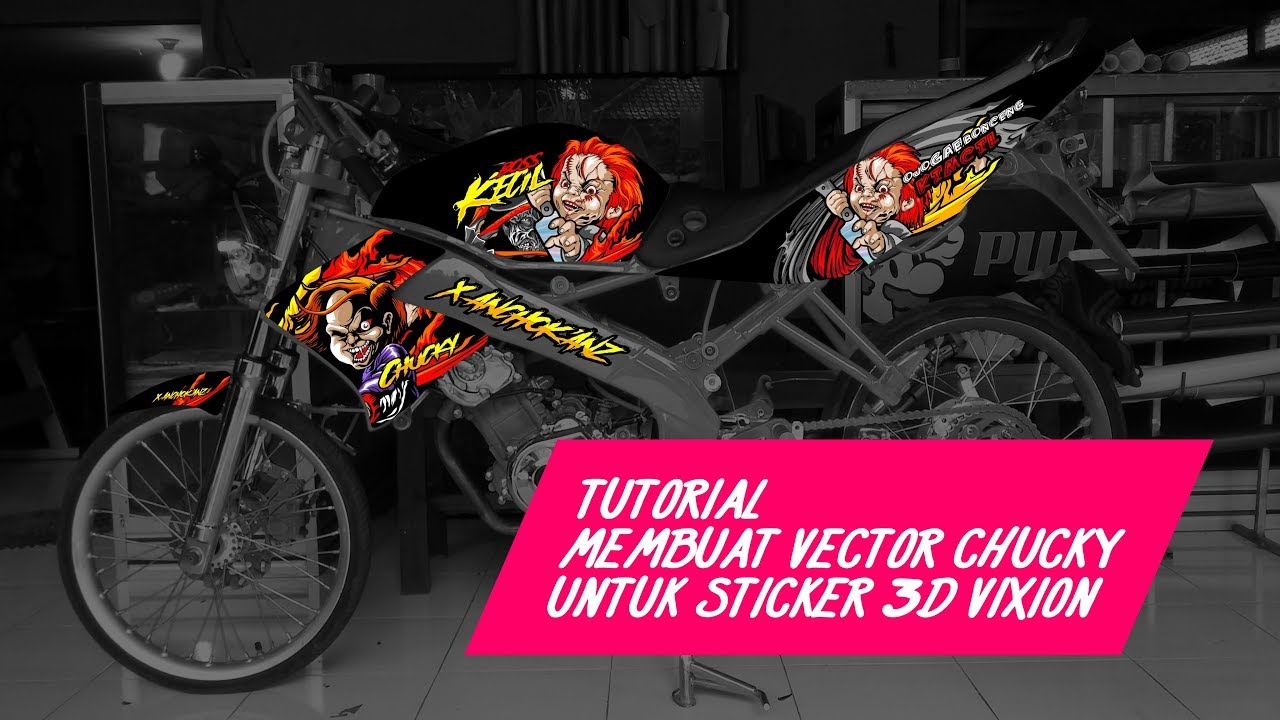 Vixion cutting sticker 3d chucky zombie vector