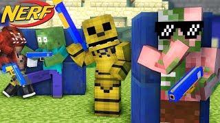 Monster School : FNAF vs Mobs Nerf War Challenge - Minecraft Animation