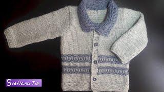 Вязание спицами для деток # 431. Кофточка - Жакет для малышей.