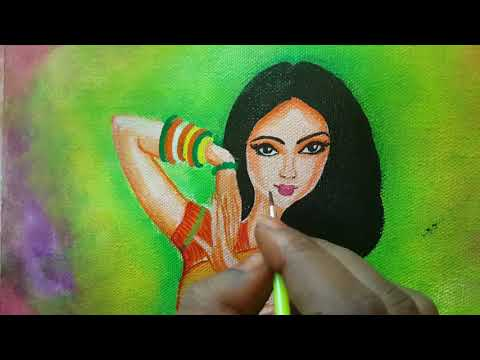 how to paint a lady - Acrylic painting - Art work