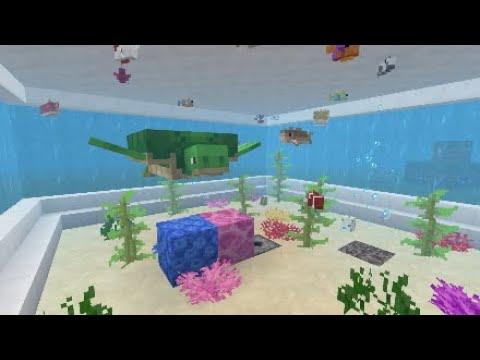 Minecraft PS4 TUTORIAL Fish Tank NO GLASS & Button Respawn Fish