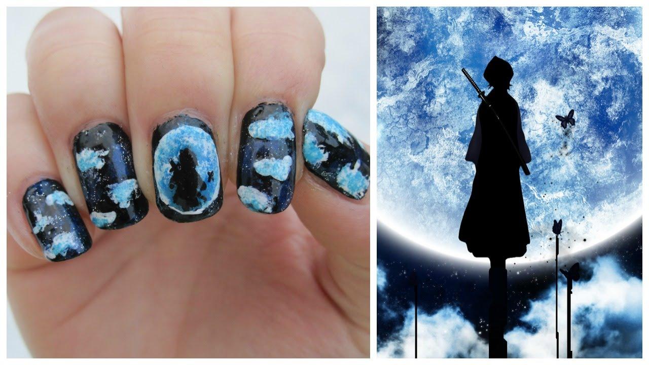 Bleach Kuchiki Rukia Moon Silhouette Nail Art