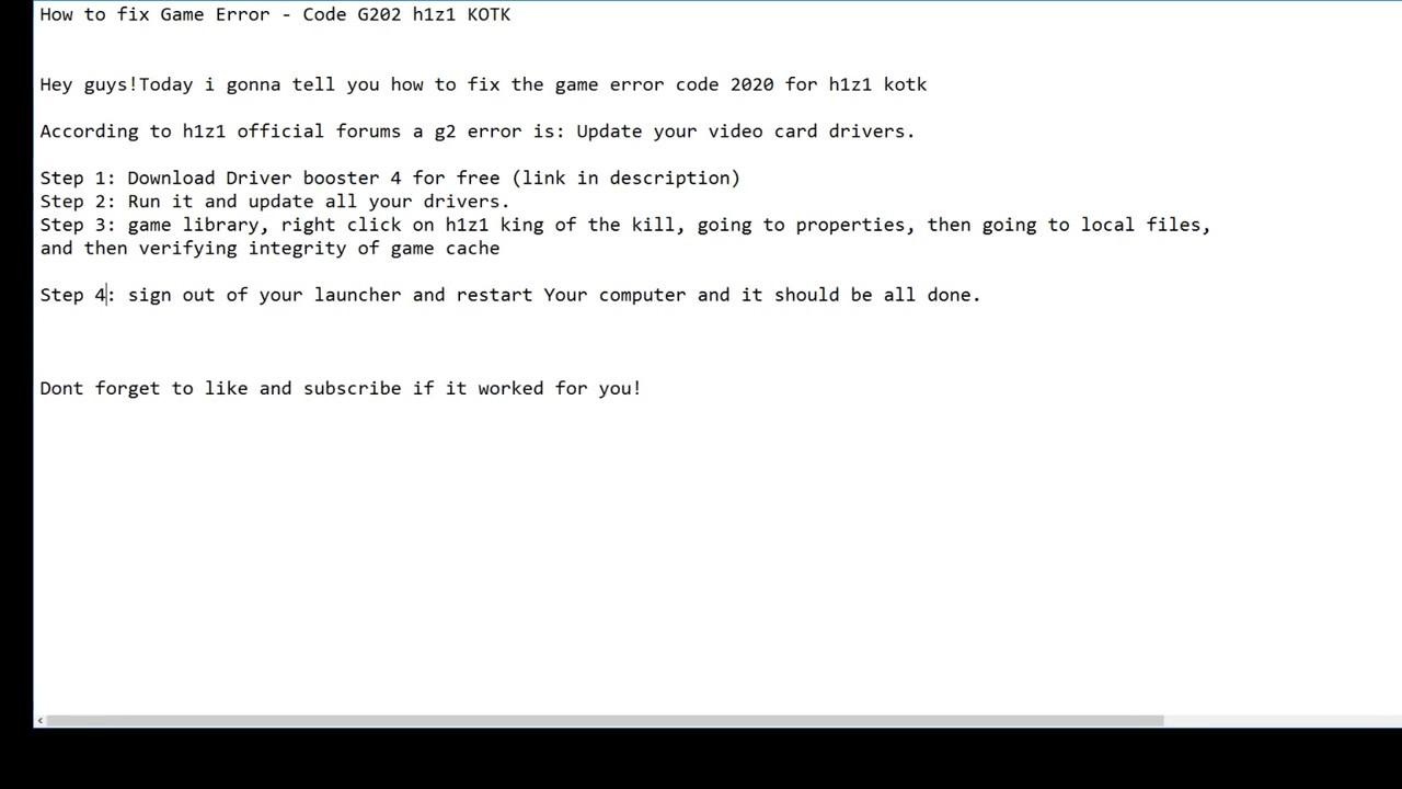 How to fix GAME ERROR - CODE G202 H1z1 KOTK