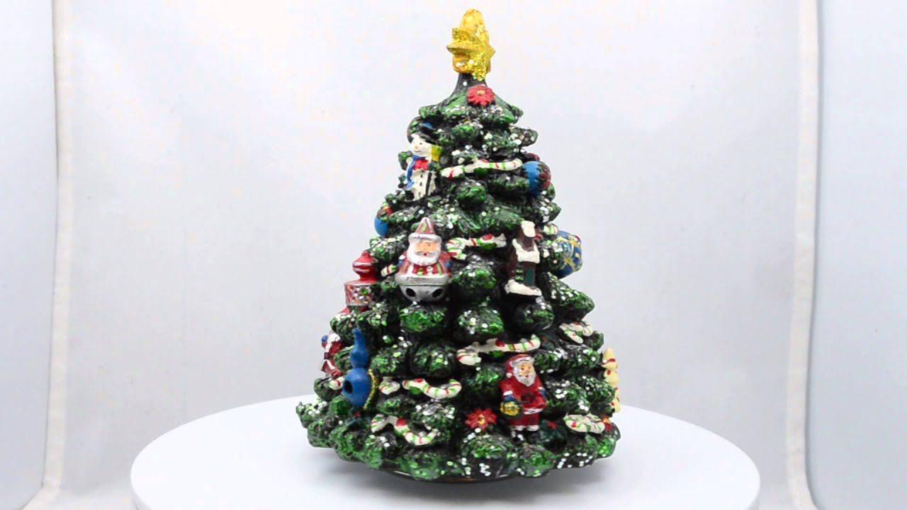"5.5"" Animated Rotating Tabletop Christmas Tree Musical Box ..."