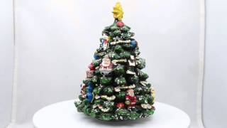 5.5 Animated Rotating Tabletop Christmas Tree Musical Box with Christmas Ornaments