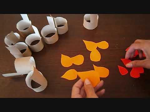 חנוכייה מגלילי נייר Chanukah menorah from roll pape