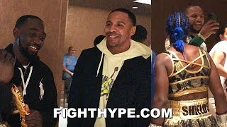 TERENCE CRAWFORD & ANDRE WARD VISIT CLARESSA SHIELDS IN LOCKER ROOM BEFORE HISTORIC HABAZIN WIN