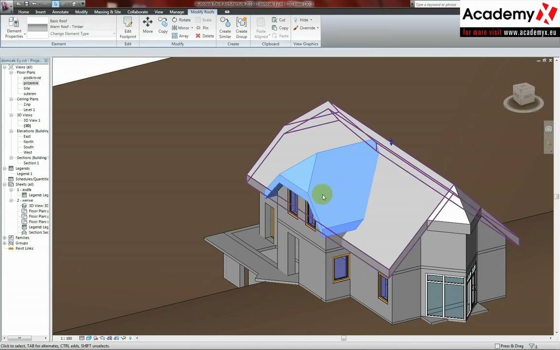 Autodesk Revit Architecture 2010 How To Edit Roof Youtube