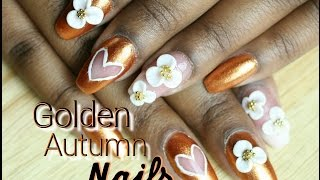 Golden Autumn Nails W/ 3d Flowers And Heart Cut-out