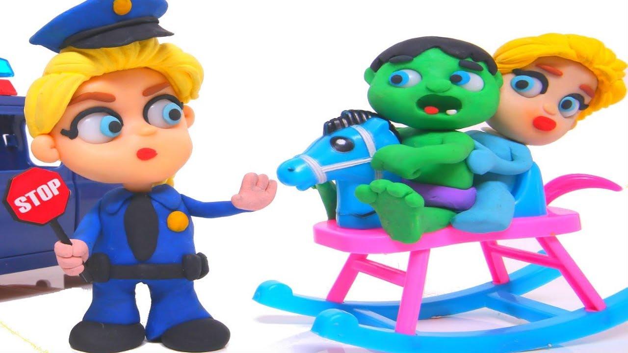 FROZEN ELSA POLICE STOPS BABY HULK ❤ Spiderman, Hulk & Frozen Elsa Play Doh Cartoons For Kids