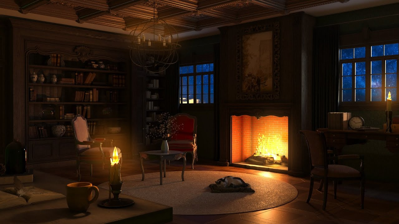 Libary Ambience   Rain & Thunderstorm Sounds   Crackling Fireplace & Rain Sounds for Relaxing