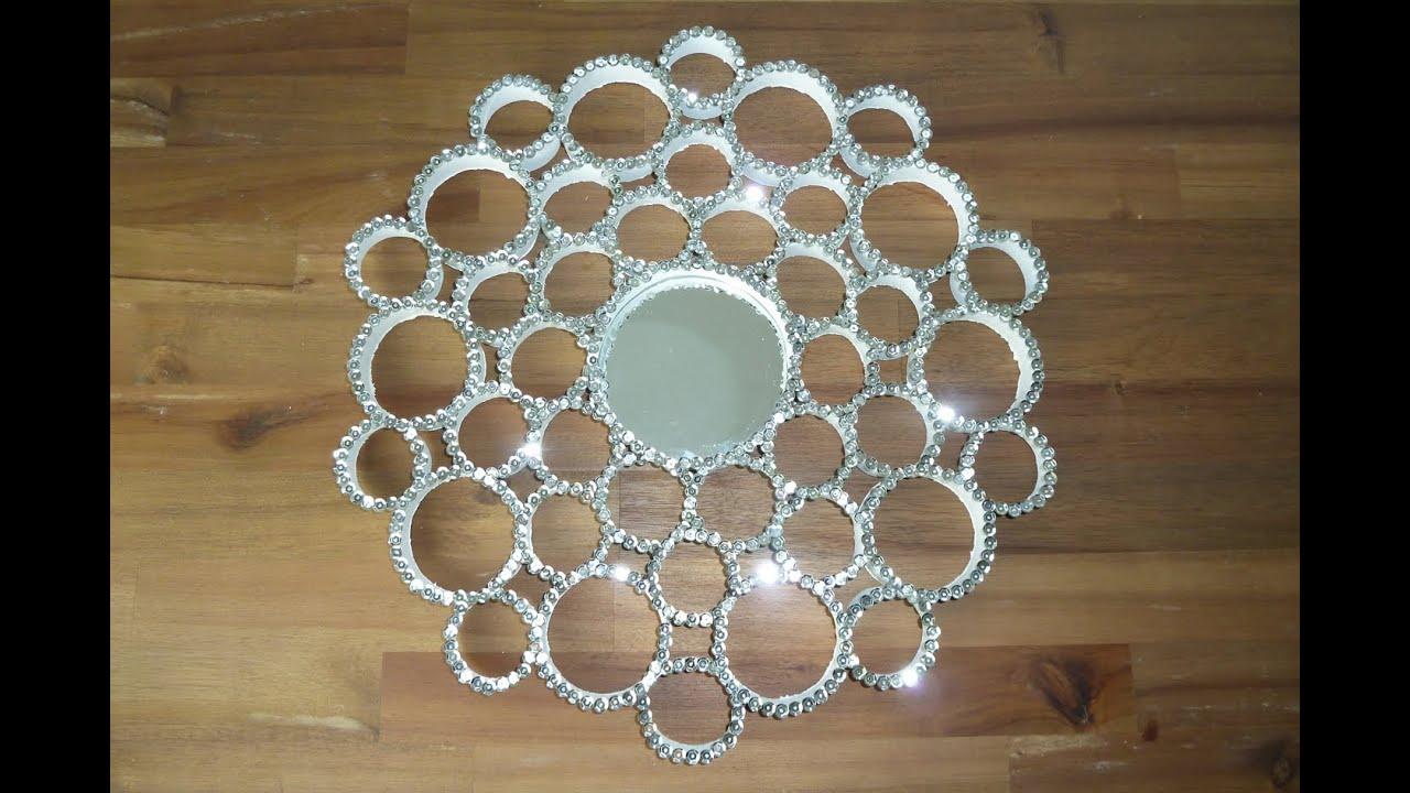 DIY Deko Pailletten Spiegel aus Papprollen selbst machen