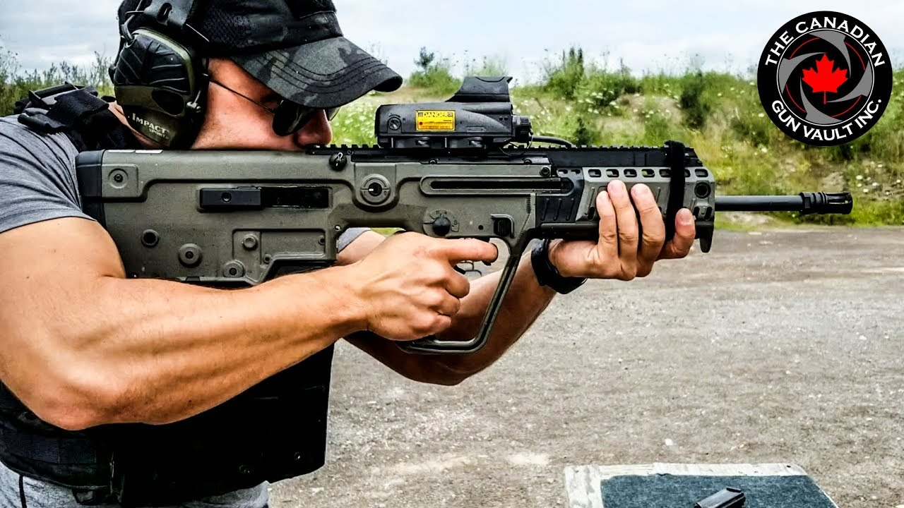 IWI Tavor X95 9mm hitting some steel IN CANADA!