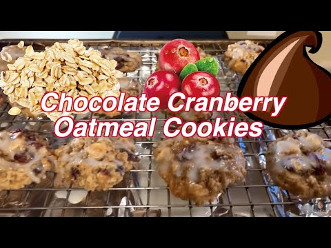 How To Make White Chocolate Cranberry Oatmeal Cookies With Coconut Glaze