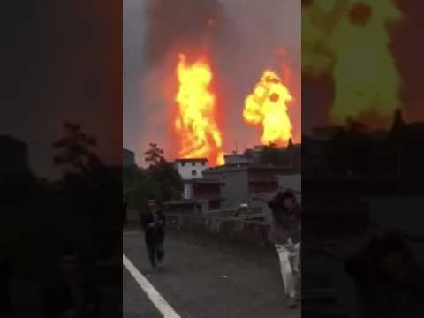 Gas pipeline explosion in Guizhou, China