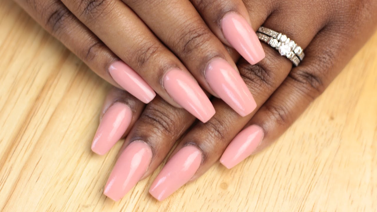 How to Simple Coffin Acrylic Nails - LongHairPrettyNails Pink Nude ...