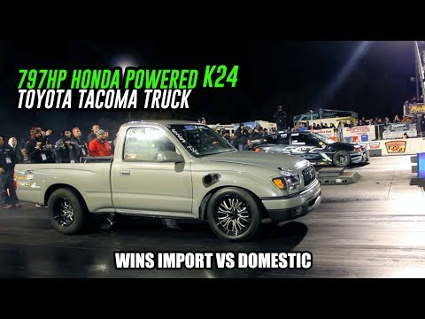 Worlds Fastest K24 Swapped Toyota Tacoma Truck? Wins Import VS Domestic