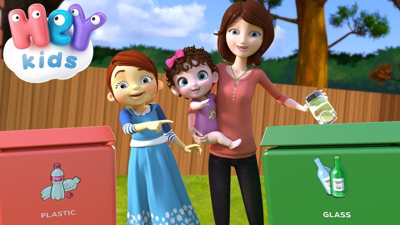 Reduce Reuse Recycle song for preschoolers ♻️ Recycling for Kids 🌍 HeyKids - Nursery Rhymes