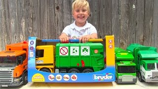 Toy Garbage Truck Videos for Children - Toy Bruder Garbage Trucks for Kids (with Truck Wash)