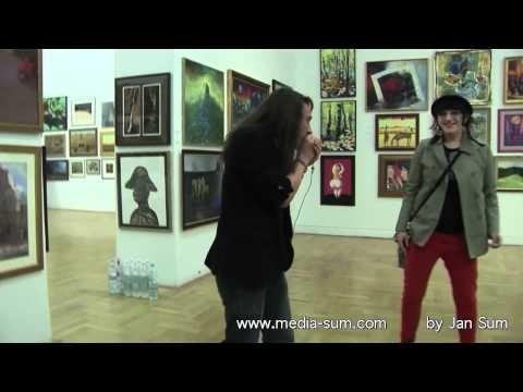 Zachta ciszek Janina Andrzej Ania  impresja z wystawy  obrazów dla Fundacji Brata Alberta c