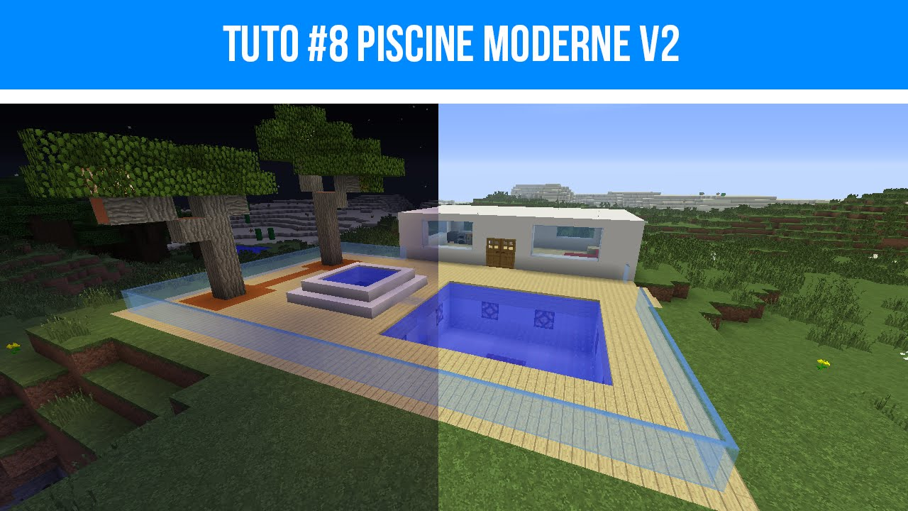 Minecraft Tuto 8 Piscine Moderne V2 Youtube