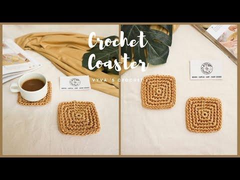 Crochet Coaster  Hướng dẫn móc MIẾNG LÓT LY hình VUÔNG kiểu cơ bản- mẫu #6  Vyvascrochet   Foci