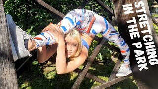 Stretching in The Park. Oversplits. Contortion