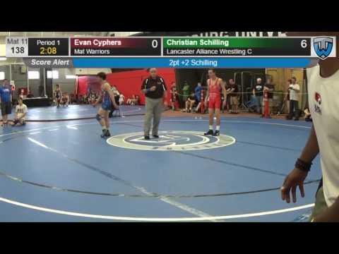 105 Junior Men 138 Evan Cyphers Mat Warriors vs Christian Schilling Lancaster Alliance Wrestling C 4