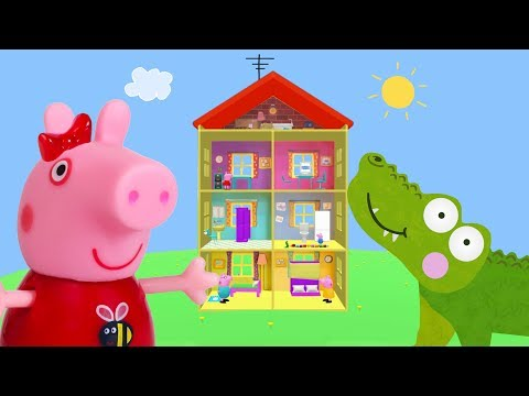 Peppa Pig Game | Crocodile Hiding Peppa Pig Furniture in Peppa Pig Toy Family Home Playset