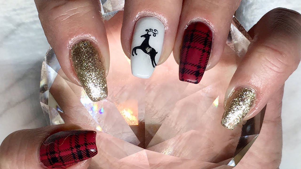 Christmas Nails Gel.Plaid Christmas Nails Done With Canni Gel Paint Amore White Gold Beauty Bigbang Stamping