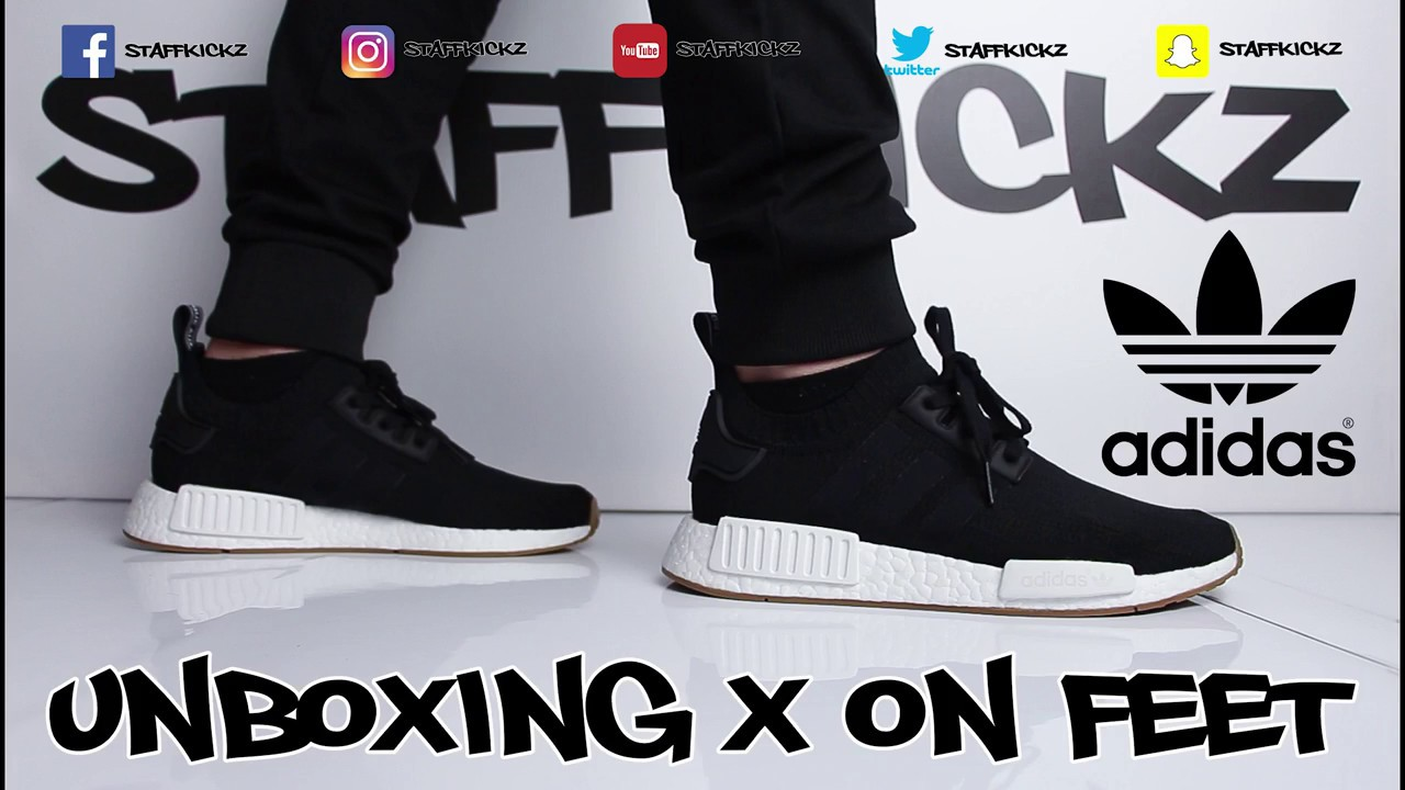 Adidas Nmd R1 Black Gum Unboxing On Feet Youtube