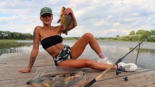 Не ОЖИДАЛА! Клюёт Карась! Лещ! Карп! Рыбалка и Ночь на Озере. #261