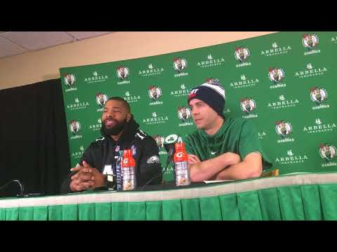 Brad Stevens, Marcus Morris deliver Super Bowl comedy hour after Al Horford