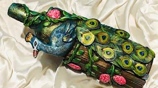 Bottle art with peacock decoration/ bottle art
