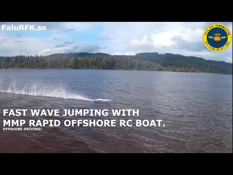 FAST RC BOAT Offshore Wave jumping at speed, 6S setup.