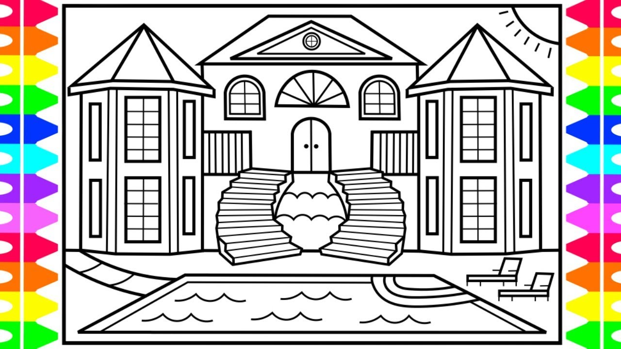 How to draw a mansion for kids 💚💙💜mansion drawing for kids mansion coloring pages for kids