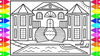 How to Draw a Mansion for Kids 💚💙💜Mansion Drawing for Kids | Mansion Coloring Pages for Kids