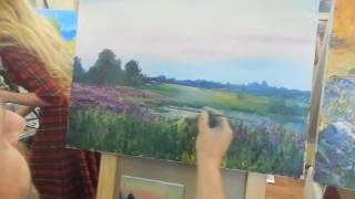 Игорь Сахаров, летний пейзаж мастихином, масляная живопись, уроки, курсы