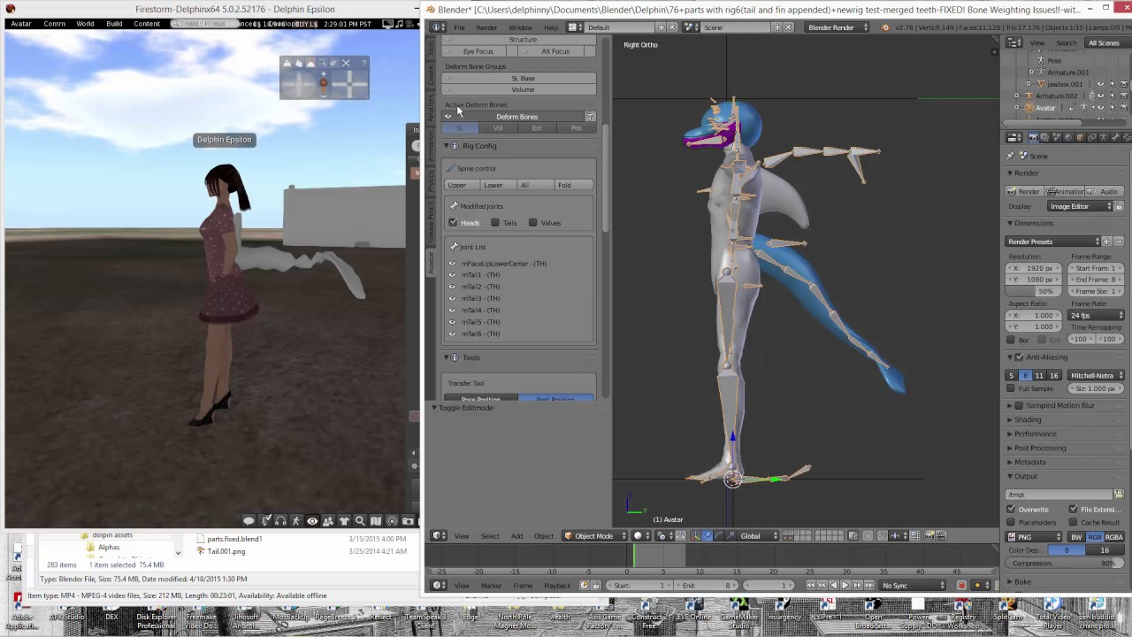 how to move bones project bento avastar blender by delphinny