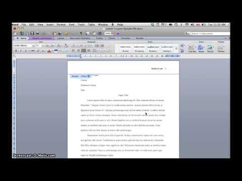 Inserting MLA Headers in Word 2010 (Mac) - YouTube