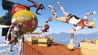 EXTREME Obstacles Run with SUPERHEROES (Funny GTA 5 Fails/Ragdolls) Obstacle Course #1