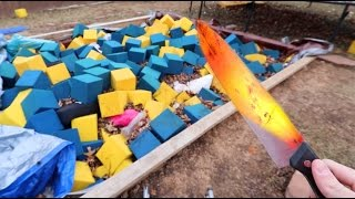 1000 DEGREE KNIFE VS FOAM PIT!  *HORRIBLE IDEA*