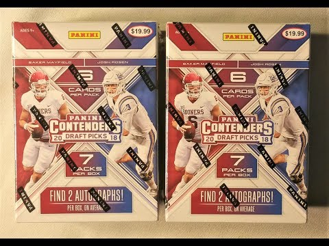2018 Panini Contenders Draft Picks NFL Football Trading Cards. Two Autographs Per Box.