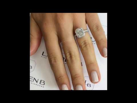 2 carat Radiant Cut Diamond Halo Engagement Ring
