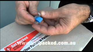Plastic Strapping using Plastic buckles and 12mm Blue Strapping