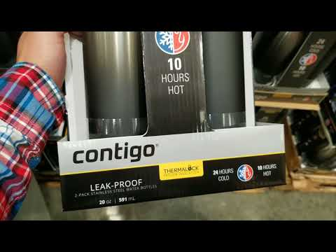 d6da5c5cb9 Costco! Contigo Thermalock Stainless Steel 20 oz Water Bottle - 2-Pack $9  !!! - YouTube