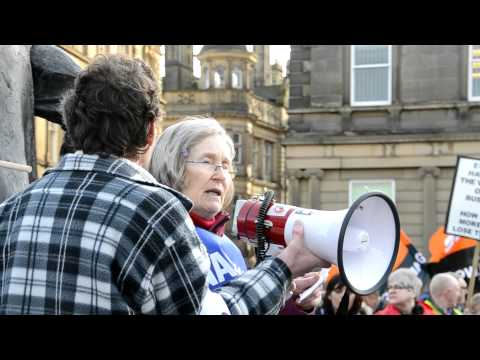 Teacher Barbara Jones NASUWT speaks to protesters in Huddersfield