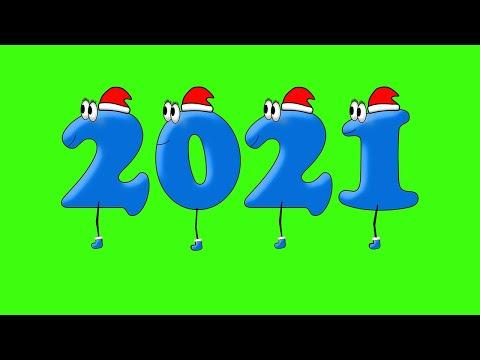 Новый2021год. Футаж прикольная анимация на зеленом фоне