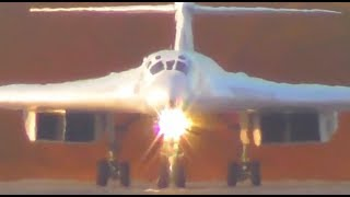 """Взлет стратегического бомбардировщика Ту-160 """"Белый лебедь"""". Takeoff Tupolev  Tu-160 """"Blackjack"""""""