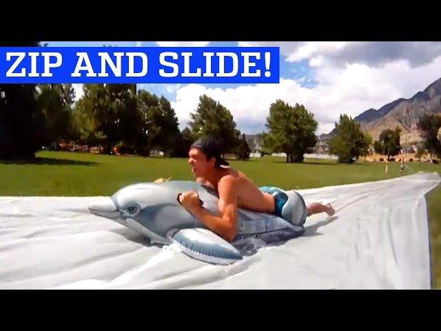 Giant zip line to slip 'n' slide   People are Awesome
